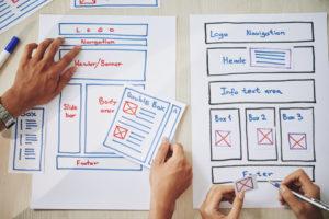 Webdesign analog mit Stift und Papier, Webseite erstellen